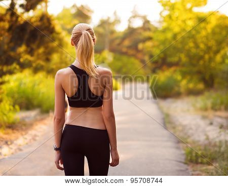 Sport Girl Standing With Her Back