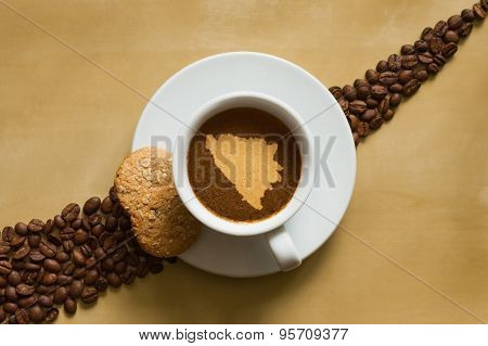 Still Life - Coffee With Map Of  Bosnia And Herzegovina