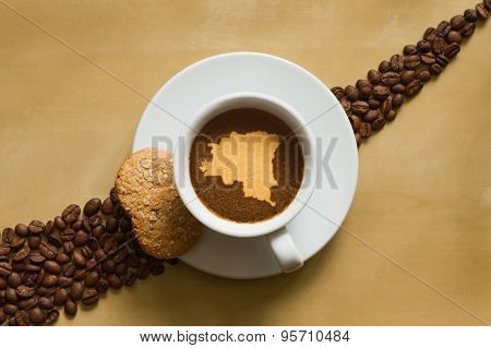 Still Life - Coffee With Map Of Democratic Republic Of The Congo