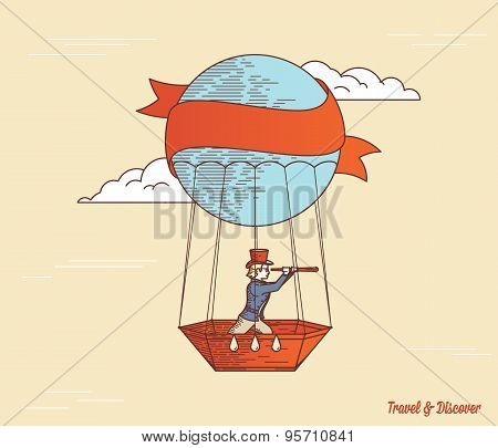 Man And Baloon Colored