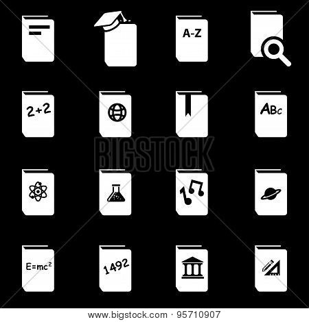 Vector White Schoolbook Icon Set