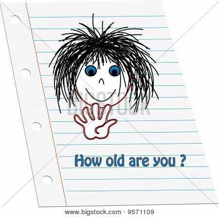 Cartoon kids face holding up five counting fingers to show age with words 'How old are you' on note