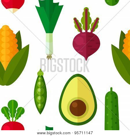 Flat Vegetables Seamless Pattern