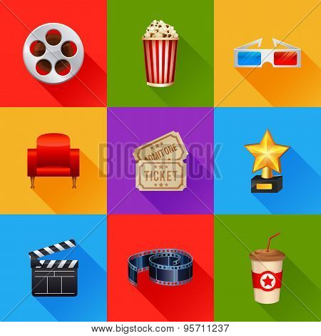 Set Of Realistic Cinema Icons