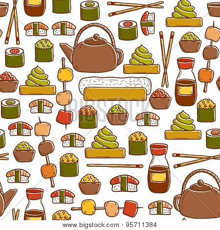 Seamless background with cute cartoon hand drawn objects on japanese cuisine theme: tea pot, rolls,