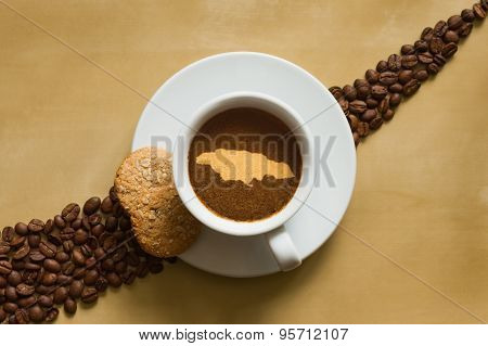 Still Life - Coffee With Map Of Jamaica