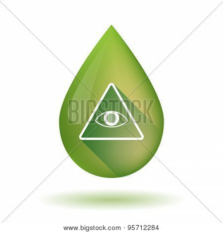 Olive Oil Drop Icon With An All Seeing Eye