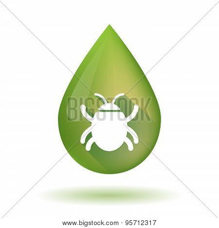 Olive Oil Drop Icon With A Bug