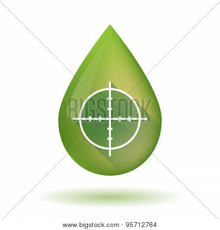 Olive Oil Drop Icon With A Crosshair