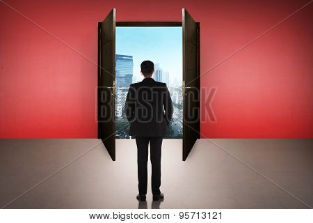 Business Man Going To The Open Door