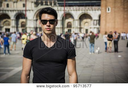 Young Man in San Marco Square in Venice, Italy