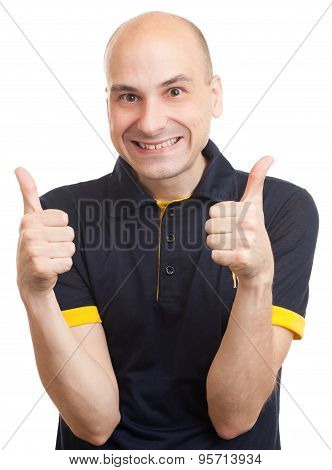 Bald Man Showing His Thumb Up