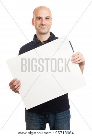 Happy Handsome Man Holding Blank Paper