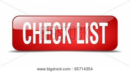Check List Red Square 3D Realistic Isolated Web Button