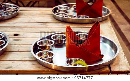 Empty Steel Plate For Indian Cusine