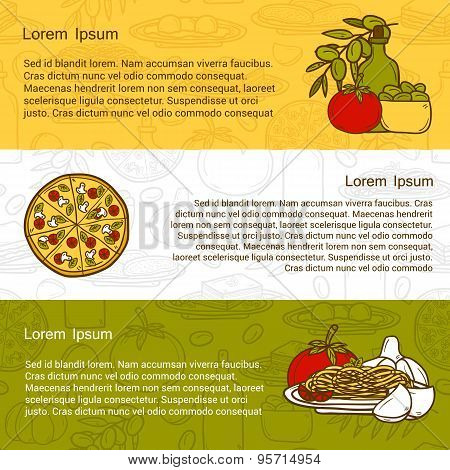 Vector italian cuisine concept with cute cartoon hand drawn objects and outline background: pizza, p