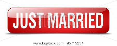Just Married Red Square 3D Realistic Isolated Web Button