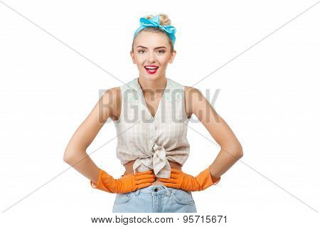 Attractive young woman is having rest after cleanup