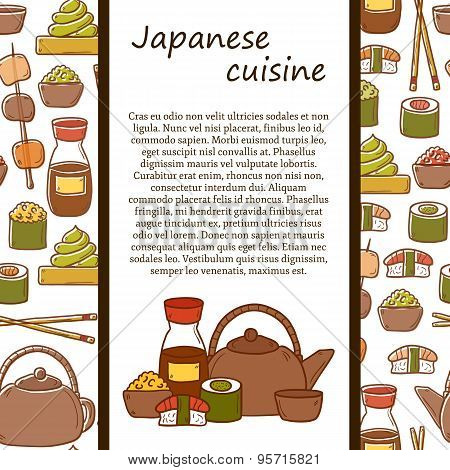 Vector japanese cuisine concept with cute cartoon hand drawn objects and seamless background: tea po