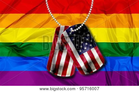 dogtags with rainbow flag