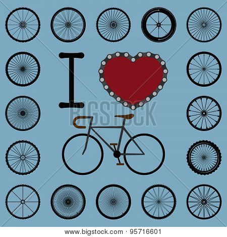 I Love Bicycle With Wheel Set