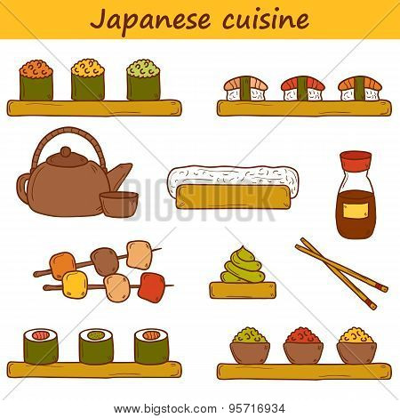 Set of cute cartoon hand drawn icons on japanese cuisine theme: tea pot, rolls, sushi, wasabi, cavia