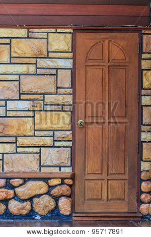 Red Entrance Wood Door