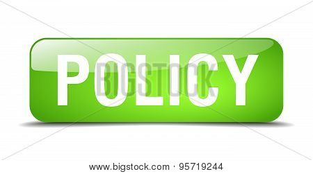 Policy Green Square 3D Realistic Isolated Web Button