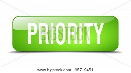 Priority Green Square 3D Realistic Isolated Web Button