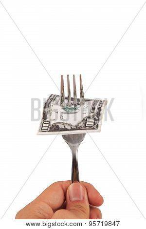 Dollar Banknote On Fork