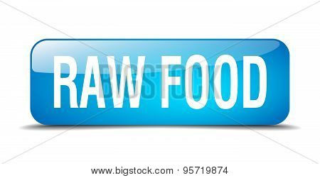 Raw Food Blue Square 3D Realistic Isolated Web Button