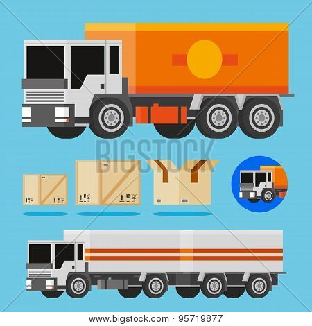 Vector orange and white delivery trucks