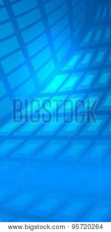 Geometric Blue Mosaic Background Glowing Figures