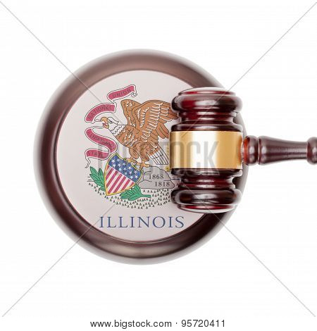 Wooden judge gavel with US state flag on sound block - Illinois