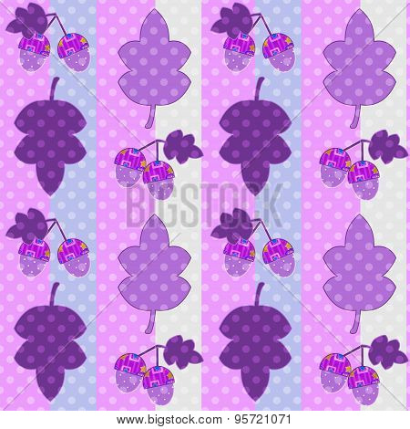 Seamless Cartoon Childish Pattern In A Patchwork Style With Leaves And Acorns In Retro