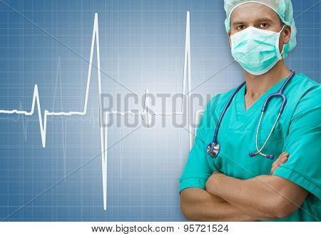 Surgeon With Ecg Sign On Dark Blue Background