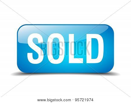 Sold Blue Square 3D Realistic Isolated Web Button