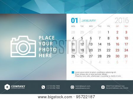 Desk Calendar 2016 Vector Design Template. Week Starts Monday