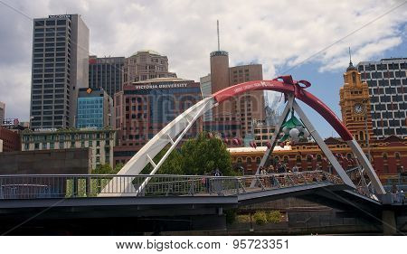 Melbourne, Australia  - December 30, 2014: Bridge On The Yara Ri