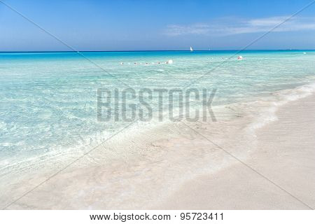Soft Wave Of The Sea On The Sandy Beach. Blue Sky, White Sand And Place For Text. Varadero, Cuba