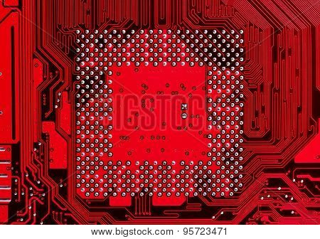 Red Computer Electronic Circuit