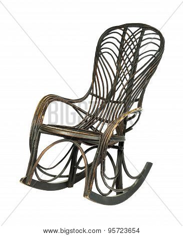 Rocking chair antique old in bamboo
