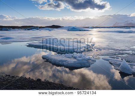 Winter ice landscape on Jokulsarlon lake