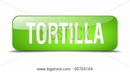 Tortilla Green Square 3D Realistic Isolated Web Button