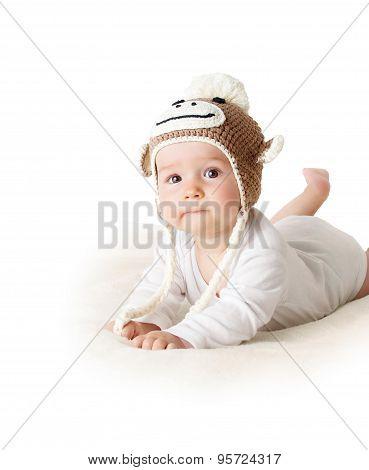 Baby in monkey hat