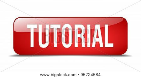 Tutorial Red Square 3D Realistic Isolated Web Button