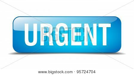Urgent Blue Square 3D Realistic Isolated Web Button