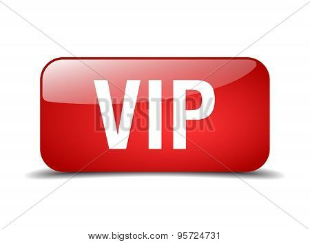 Vip Red Square 3D Realistic Isolated Web Button