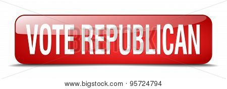 Vote Republican Red Square 3D Realistic Isolated Web Button
