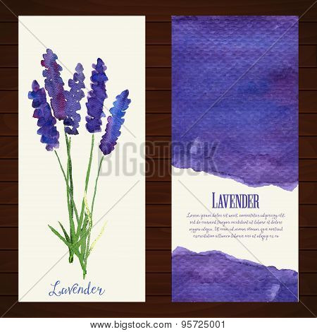 Vector banners with watercolor lavender.
